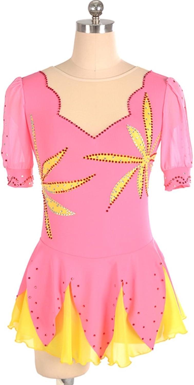Heart&M Ice Skating Dress for Girls Women Handmade Figure Skating Competition Costume Skating Leotards Rhinestone Leaf Pattern Half Sleeved Pink