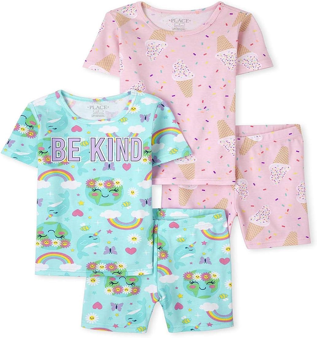 The Children's Place Girls Ice Cream Rainbow Snug Fit Cotton 4-Piece Pajamas
