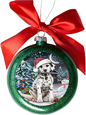 Have a Holly Jolly Christmas Happy Holidays Dalmatian Dog Green Round Ball Christmas Ornament GBSOR48150
