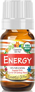 Essential Oil for Energy (USDA Organic - 100% Pure) Unique Blend of Essential Oils Recomended by Aromatherapists for Aromatherapy - 10ml