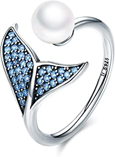 WOSTU Lucky Whale Tail Rings 925 Sterling Silver CZ Shell Pearl Wrap Rings Open Adjustable Bands.