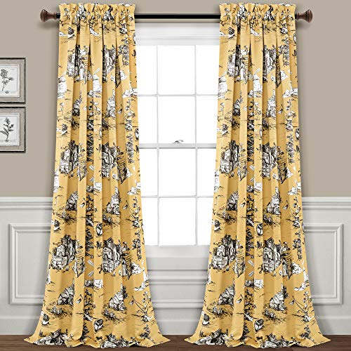 "French Country Toile Room Darkening Window Curtain Panel Pair, Yellow & Gray, 84"" L x 52"" W"