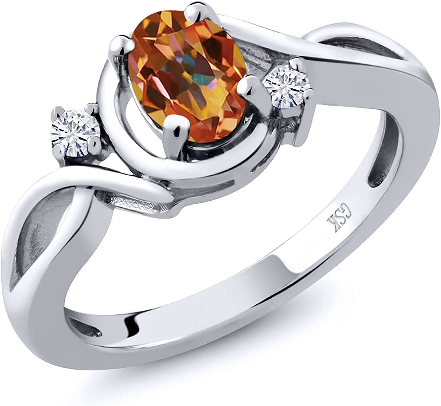 925 Sterling Silver Fashion Right-Hand Ring Oval Cheap mail order shopping Mystic Max 45% OFF Ecstasy