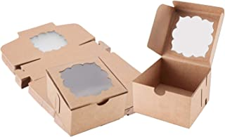 Sharlity Kraft Paper Bakery Boxes with Window (50 Pack) 4x4x2.5 inch, Pastry Containers for Small Bakery Boxes, Dessert, Candy, Cookies, Pastry, Treat, Party Favor