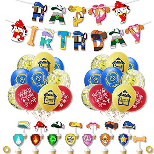 Hao-zhuokun Paw Dog Patrol Party Supplies Set de Decoración de Fiesta de Cumpleaños,Happy Birthday Banner Cake Topper Feliz Cumpleaños de Tarta Adornos de Casa para Niño Decoración Fiestas