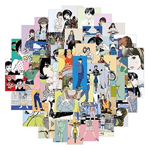 FENGLING Pegatinas clásicas Retro con ilustración de Chica Joven, Pegatina de Dibujos Animados de Anime para Guitarra, Maleta, Nevera, Botella de Agua, 50 Uds.