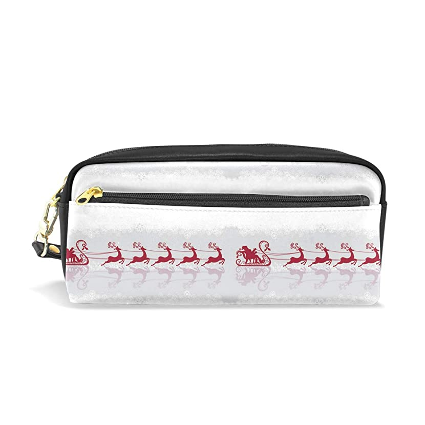 Santa Claus In The Snow ReflectionWaterproof Travel Toiletry Pouch,Pencil Pen Case Multi-functional Cosmetic Makeup Bag, Fashion Zipper Pouch Purse.