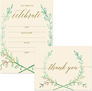 All Occasion Invitations (100) & Matching Thank You Cards Set (100) with Envelopes Large Office Birthday Retirement Party Wreath Write-in Guest Invites & Folded Thank You Notes Best Value Pair
