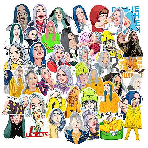 Laptop Stickers of Singer Billie Eilish, 53pcs Waterproof Vinyl Decals for Hydro Flask Guitar Notebook Luggage Travel Case Motorcycle Bumper Bike Pop Music Super Star Graffiti Sticker Patches for Fans