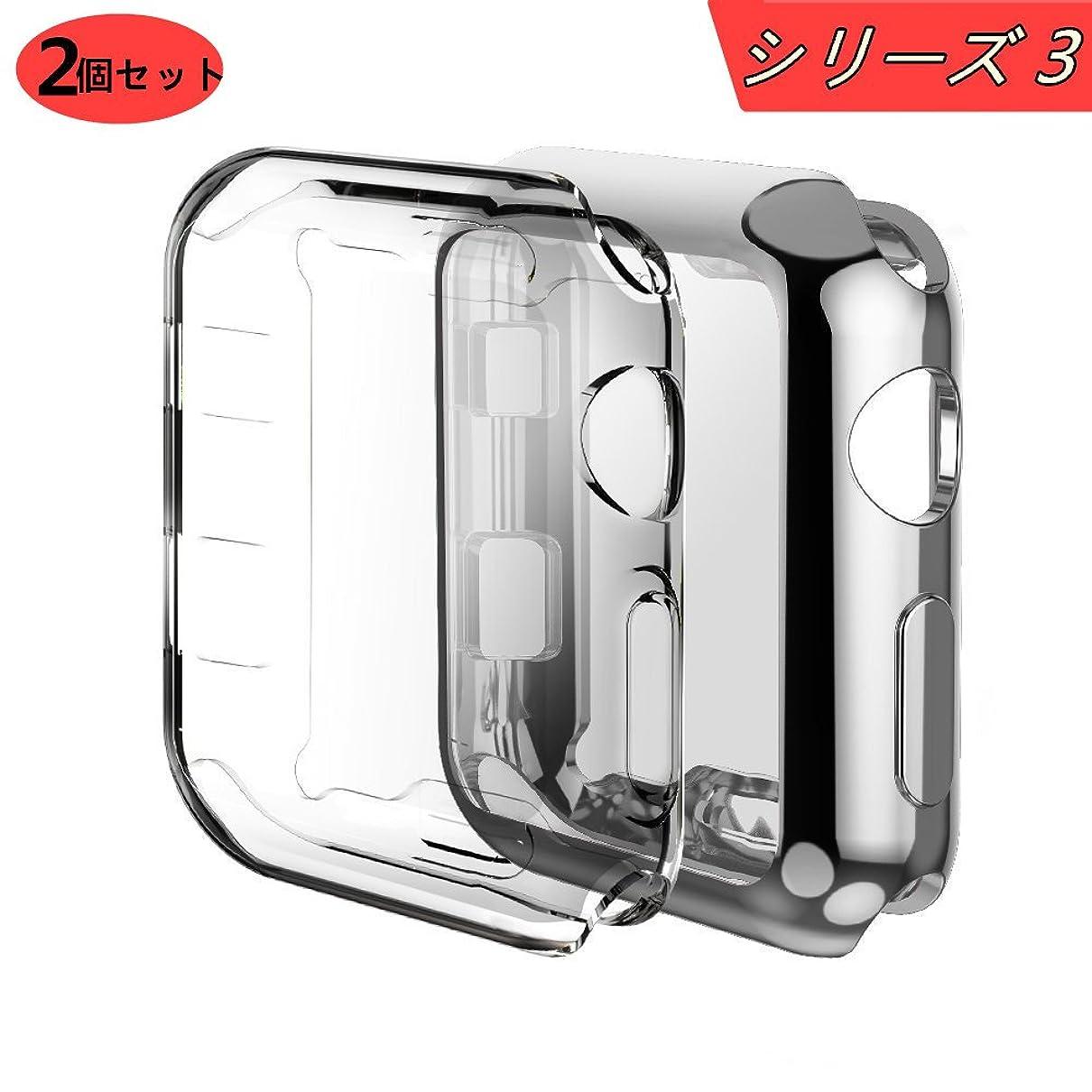 印象的なエステートロードハウスApple Watch ケース, Smilelane のメッキTPUスクラッチ耐性のあるフレキシブルケースアップルウォッチシリーズ3 38mm (1 シルバー + 1 クリア)
