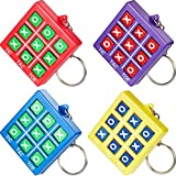 8 Pieces Tic Tac Toe Keychain Durable Plastic Keyholders for Mini Backpack Clip Keyring for Bag and Belt Birthday Party Gift for Boy Girl Educational Tool Back to School Item