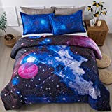 Litanika 3D Galaxy Comforter Full(79x90lnch), 3 Pieces(1 Galaxy Comforter, 2 Pillowcases), Universe Cloud Outer Space Comforter, Microfiber Bedding Set for Boys Kids