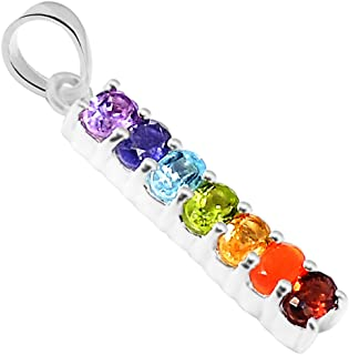 Xtremegems Healing Chakra 925 Sterling Silver Pendant Jewelry 1 1/8 AAACP221