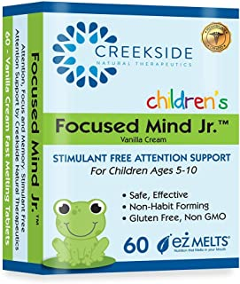 Creekside Naturals Focused Mind Jr., Focus and Memory Support for Children, Pediatrician Formulated, Stimul...