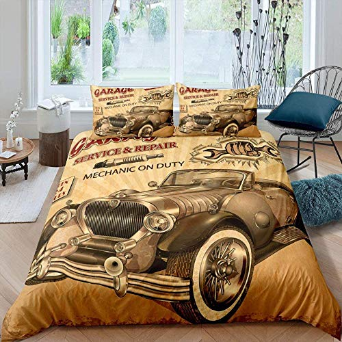 Dvvseso Bedding Duvet Cover Set with Zipper Closure, Vintage brown classic car car alphabet pattern Brushed Microfiber, Lightweight Soft, Durable Double size 200 x 200 cm -Duvet cover baby bedding