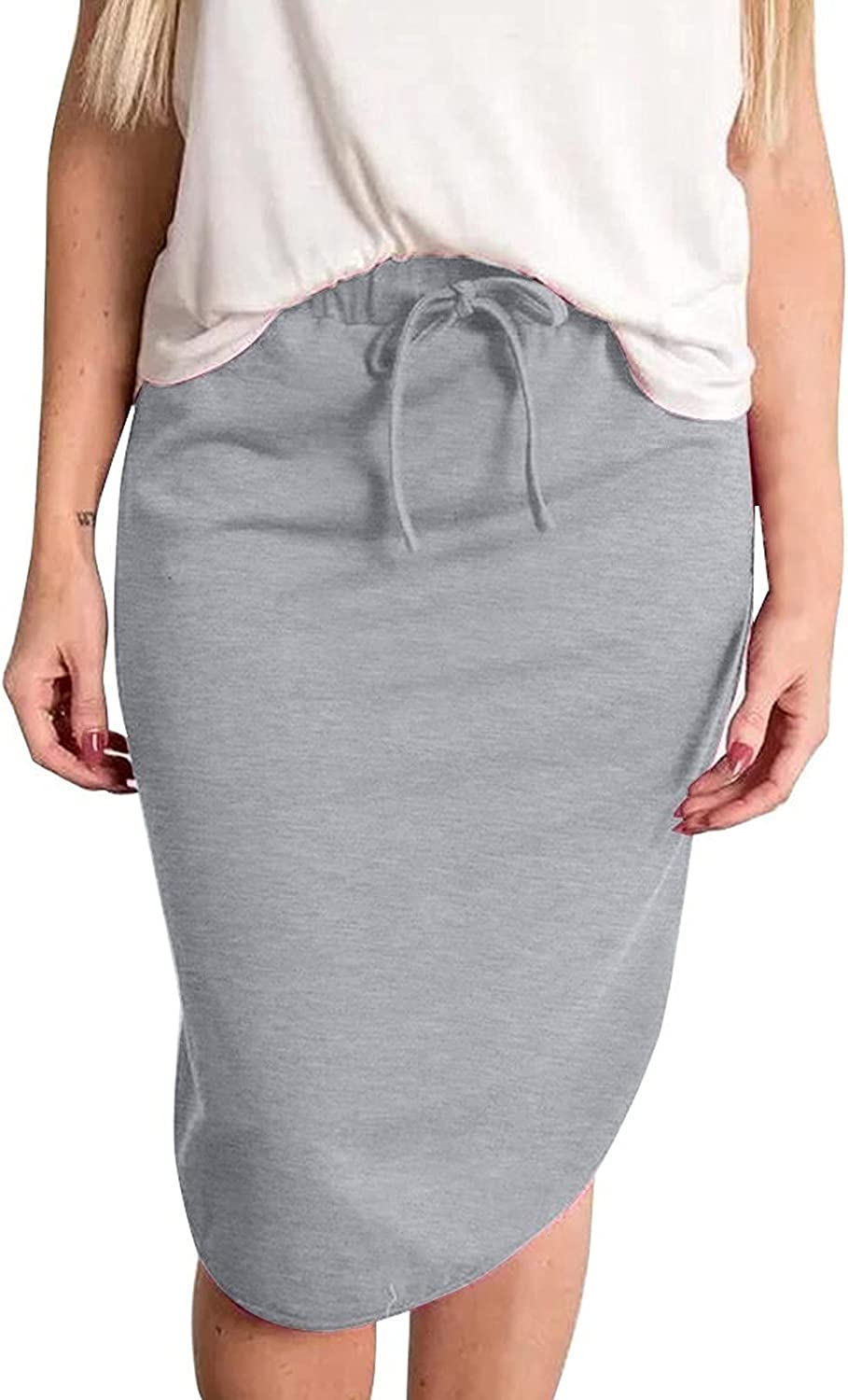 NIUQI Women'S Bag Hip Midi Long Skirt, Casual And Novel Skirts For Women, Summer Solid Color Striped Skirts
