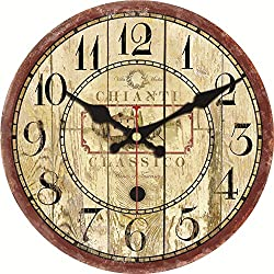 ShuaXin Vintage Rustic Country Style Classic Wooden Decorative Round Wall Clock (12, A)