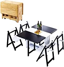 CHICAI Solid Wooden 1.35M Folding 4-Chairs Dining Table Set Drop Leaf Butterfly Kitchen Furniture Natural (Color : Black+W...