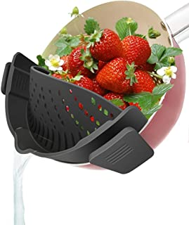 YEVIOR Clip on Strainer for Pots Pan Pasta Strainer, Silicone Food Strainer Hands-Free Pan Strainer, Clip-on Kitchen Food ...