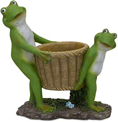 Melrose 82670 Frogs with Basket, 10-inch Height, Resin