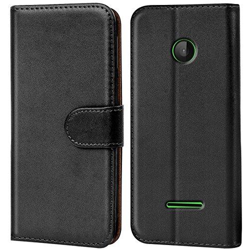 Verco Lumia 532 Hülle, Handyhülle für Microsoft Lumia 532 Tasche PU Leder Flip Case Brieftasche - Schwarz