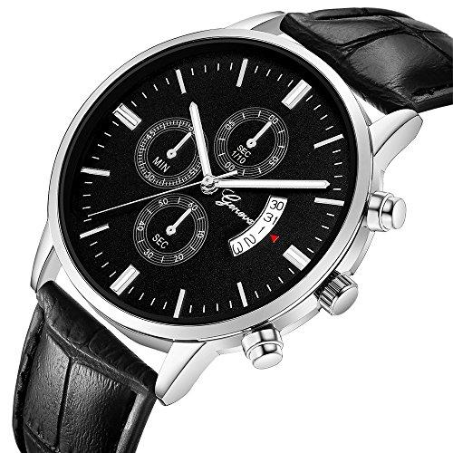 uhr for herren Chronograph Analogue Quartz Wasserdicht Business Schwarz Zifferblatt Armbanduhr mit Edelstahl Armband(W)