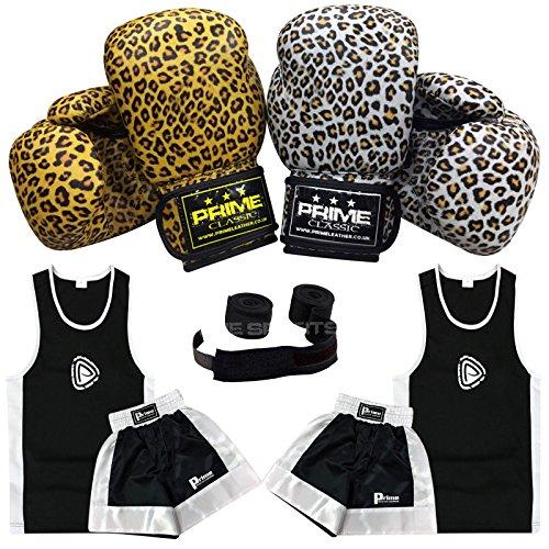 Junior Boxen Uniform Set Top Bottom Paar Boxhandschuhe Packungen 1016Leopard Weiß/Gelb 170, 1016-Leopard-Yellow-6OZ