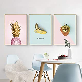 ZGQA-GQA Nordic Minimalist Abstract Creative Pineapple Banana Strawberry Graphic Oil Painting Computer Inkjet Mural Decora...