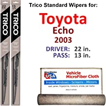 Wiper Blades for 2003 Toyota Echo Driver & Passenger Trico Steel Wipers Set of 2 Bundled with Bonus MicroFiber Interior Car Cloth