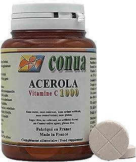 Vitamina C 1000 mg acerola natural divisible en 2 o 4 que contiene 250 mg 25% Vitamina C 30 Tabletas masticables Sin azúcar. sin colorantes. sin sabor artificial. sin conservantes. sin gluten.