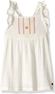 فستان روكسي للفتيات ذو أشرطة مكشكشة بملمس طبيعي صغير
