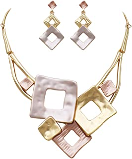Rosemarie Collections Women's Tri-Tone Geometric Squares Necklace and Earrings Jewelry Set