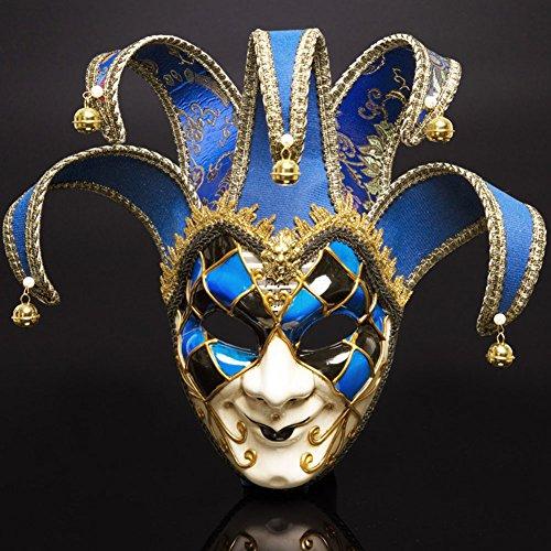 Máscaras venecianas romanas griegas máscara máscara disfraz de Halloween vestido de fiesta decoración suministros máscara con personalidad (azul)