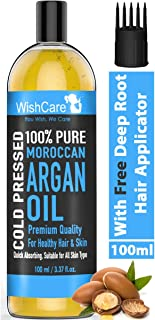WishCare® 100% Pure Cold Pressed & Natural Moroccan Argan Oil - for Healthy Hair & Skin - 100 Ml