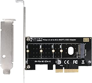 QNINE M.2 NVME to PCIe Adapter, NGFF M2 SSD to PCI-e 3.0 x4 Host Controller Expansion Card with Low Profile Bracket, Support M Key Solid State Drive Type 2280 2260 2242 2230 Converter to Desktop PC
