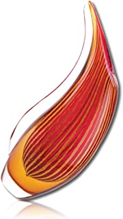 """Decorative & Elegant {3.5 x 7.5 x 12.25 Inches} 1 Single Large, """"Flared"""" Home Decor & Flower Vase, Made of Genuine Glass w/ Modern Abstract Flaming Fire Lava Hand Blown Design {Red, Orange, & Yellow}"""