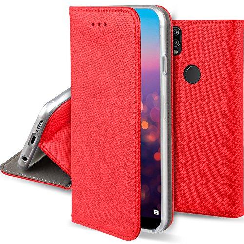 Moozy Coque a Rabat pour Huawei P20 Lite, Rouge - Housse Étui Fin Smart Magnétique avec Porte-Cartes et Support