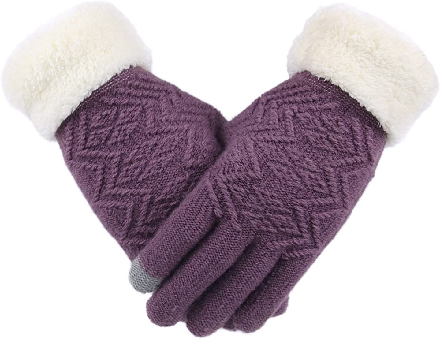 Female Thicken Mittens Winter Warm Gloves Ladies Full Finger Soft Stretch Knit Mittens (Color : 3, Gloves Size : One Size)
