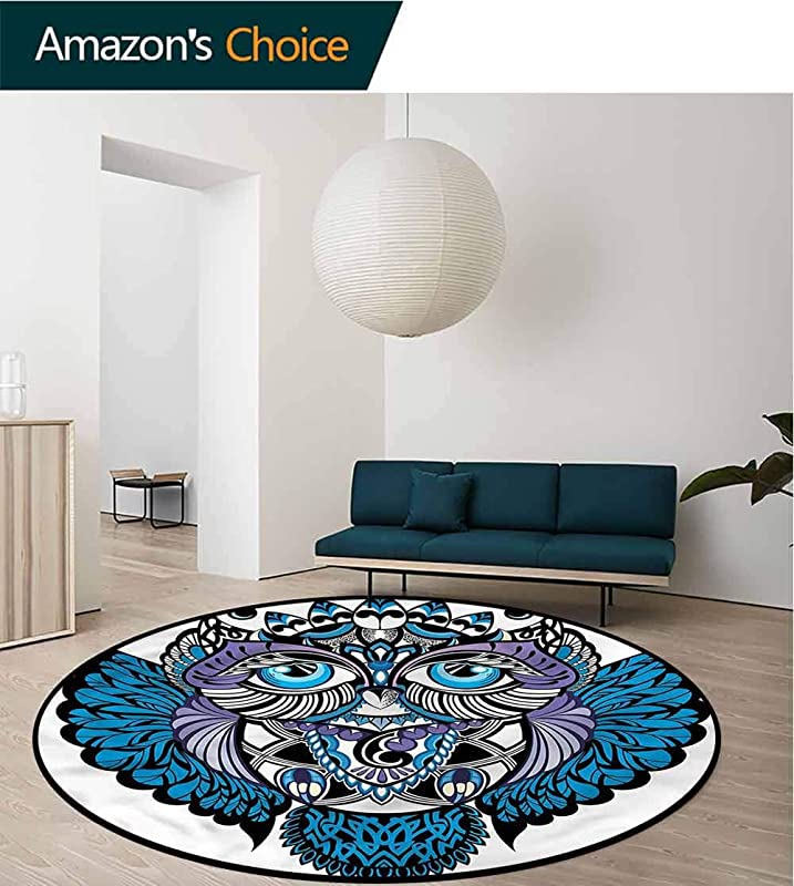 RUGSMAT Tribal Round Kids Rugs Owl Bird Animal Tattoo Design Non Slip Fabric Round Rugs For Living Room Diameter 24