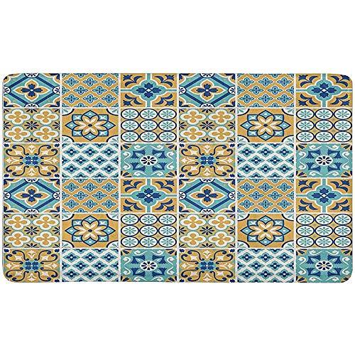 jonycm Ruimte Tapijt Decoratieve Tegel Patroon Ingang Mat Indoor Anti-Slip Deurmat Rubber Backing Vloerkleed 40X60Cm Tapijt Home Decor