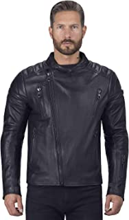 Viking Cycle Cafe Premium Black Leather Motorcycle Jacket for Men (2X-Large)