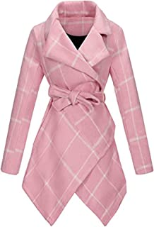 ZEFOTIM Womens Winter Lapel Faux Wool Coat Trench Jacket Long Sleeve Overcoat Outwear