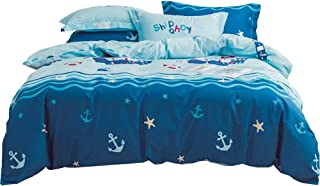 LAYENJOY Cotton Kids Sailboat Nautical Duvet Cover Set Twin, Pirate Ship Anchor Whale Starfish Pattern Blue Reversible Bedding Set for Kids Teens Boys Girls, 3 Piece, No Comforter