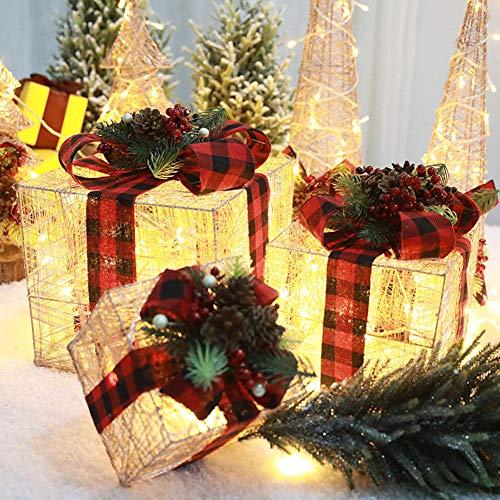 Natalizia Illuminazione Set di 3 Natale Accendere Pacco Regalo Decorativo Ferro Batteria LED Scatole Regalo Set Bianco Caldo Luci Interno All'aperto Decorazione,Rame