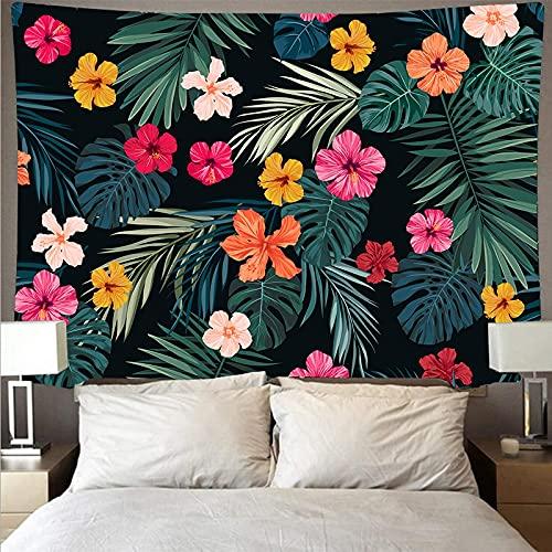 Tapiz de planta verde hoja de palmera tropical colgante de pared tapiz de flores grandes arte tela de pared tapiz tela de fondo A10 73x95cm