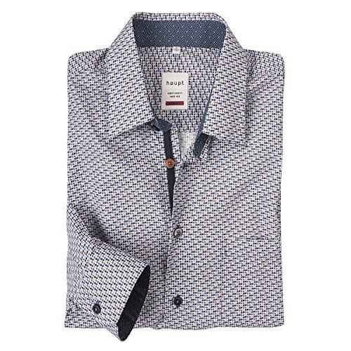 Haupt XXL Langarmhemd taubenblau-rost Alloverdruck, XL Größe:2XL