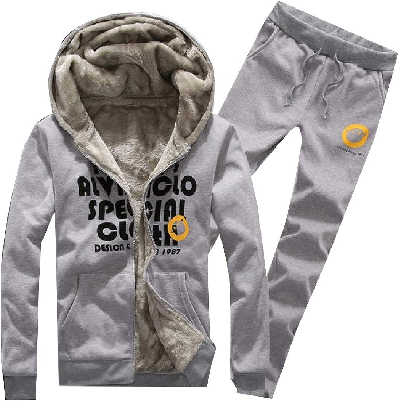Mfasica Men Loose Thermal Fleece Thicken with Hood Sport Sweat Suit Set