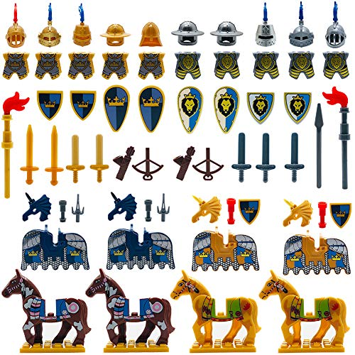 Medieval Weapons Accessories Knights Block Toy with Figures (10 Sets Weapons & 4 Sets Horses & 10 Figures)