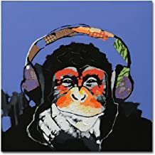 Muzagroo Art Gorilla Listen to Music Oil Paintings Painted by Hand Canvas Wall Decor (40x40in)