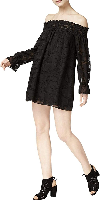 Bar Iii Womens Textured OffTheShoulder OffShoulder Dress
